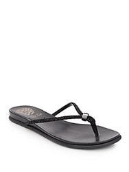 Vince Camuto Elliot Rhinestone Embellished Leather Thong Sandals Black