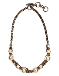 Givenchy Brown Gold Plated Toggle Necklace With Faux Pearls And Crystal Accents