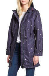 Joules Right As Rain Longline Print Coat Navy Star
