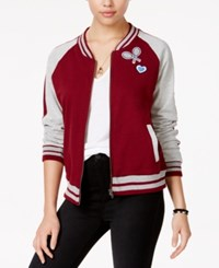 Almost Famous Juniors' Patch Knit Bomber Jacket Burgundy