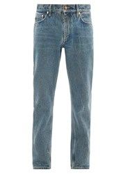 Burberry Straight Leg Distressed Washed Jeans Blue