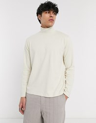 Asos White Loose Fit Long Sleeve T Shirt With Turtle Neck In Beige