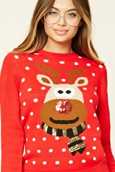 Forever 21 Sequin Reindeer Sweater Red Cream