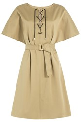 Vanessa Seward Cotton Dress With Lace Up Front Green