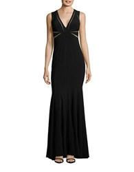 Betsy And Adam Mesh Panel Mermaid Gown Black