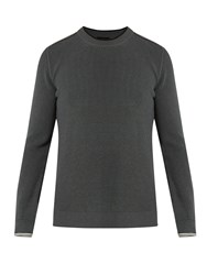Lanvin Striped Cuff Cotton And Wool Blend Sweater Dark Grey