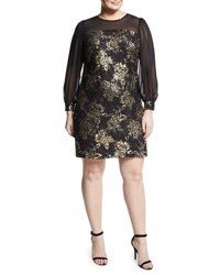 Julia Jordan Plus Sheer Sleeve Brocade Mesh Dress Black Gold