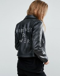 Asos Ultimate Leather Biker Jacket With Diamond Quilting And Back Print Black