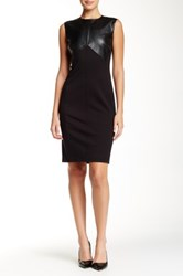 Magaschoni Faux Leather Seamed Sheath Dress Black