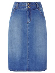 Collection Weekend By John Lewis Denim Pencil Skirt Mid Blue