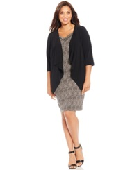 Connected Plus Size Cowl Neck Shift Dress And Jacket Black Brown Multi
