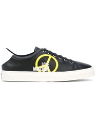 Love Moschino Peace Print Low Top Sneakers Men Leather Polyester Rubber 40 Black