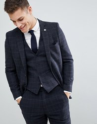 French Connection Brushed Flannel Slim Fit Tobacco Check Suit Jacket Blue