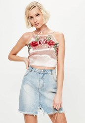 Missguided Pink Satin Embroidery Bralet