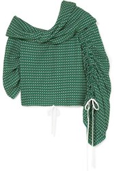 Hellessy Sunshine One Shoulder Crocheted Cotton Top Green