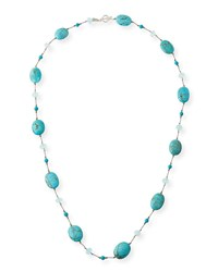 Margo Morrison Turquoise And Aqua Chalcedony Station Necklace