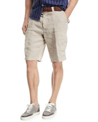 Brunello Cucinelli Linen Cargo Shorts Medium Beige