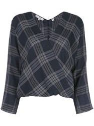 Vince Check Wrap Top Blue