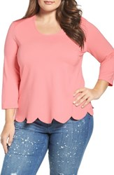 Melissa Mccarthy Seven7 Plus Size Women's Scallop Skimmer Knit Top Candlelight Peach