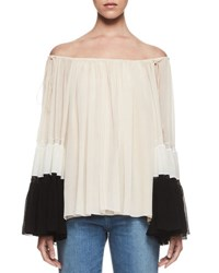 Chloe Colorblock Off The Shoulder Blouse Blush White Navy Blush Wgt Nvy