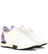 Balenciaga Leather Trimmed Sneakers White