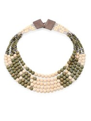 Peserico Multi Strand Beaded Necklace Natural Navy