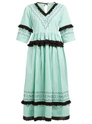 Molly Goddard Frank Cross Stitched Gingham Cotton Midi Dress Green
