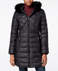 Bar Iii Faux Fur Trim Quilted Puffer Coat Only At Macy's Black