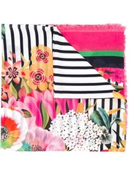 Mary Katrantzou Striped Floral Print Scarf Pink And Purple