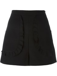 Red Valentino Ruffled Pocket Shorts Black