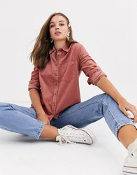 New Look Cord Shirt In Pink Tan