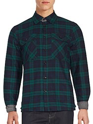 Saks Fifth Avenue Red Faux Sherpa Plaid Flannel Shirt Black