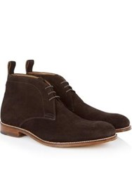 Grenson Marcus Chelsea Suede Chukka Boots Chocolate