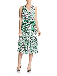 Anne Klein Printed V Neck Chiffon Dress Garden Green