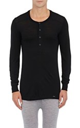 Hanro Men's Wool Silk Henley T Shirt Black