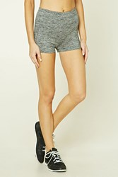 Forever 21 Active Marled Knit Shorts Charcoal