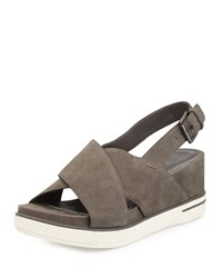Eileen Fisher Good Crisscross Wedge Sandal Graphite Grey Women's