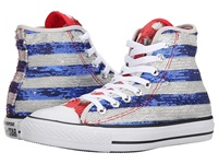 Converse Chuck Taylor All Star Sequin Flag Hi Silver Electric Cobalt White Women's Lace Up Casual Shoes