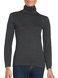 Saks Fifth Avenue Black Solid Turtleneck Top Light Heather Grey