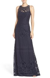Vera Wang Women's Illusion Yoke Lace Maxi Dress