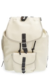 Harper Ave 'Mueck' Faux Patent Leather Backpack Light Taupe Gray