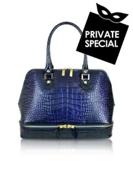 L.A.P.A. Blue Croco Patent Leather Bowler Bag