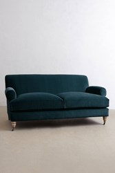 Anthropologie Velvet Willoughby Sofa Wilcox Legs Blue Green