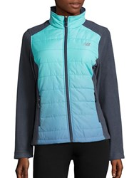 New Balance Dip Dyed Quilted And Fleece Performance Jacket Aqua