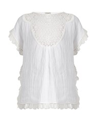 Masscob Lace Bib Crinkled Linen Blend Top White