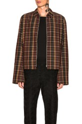 Wales Bonner Zip Up Jacket In Checkered And Plaid Brown Checkered And Plaid Brown