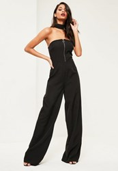Missguided Tall Exclusive Black Choker Neck Jumpsuit
