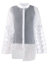 Paskal Floral Applique Sheer Shirt White