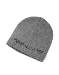 Armani Jeans Solid Wool Blend Men's Beanie Hat Grey