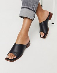 Topshop Crossover Mules In Black